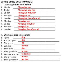 WHO IS DOING WHAT TO WHOM ¿Qué significan en español? Me dan____________________________________