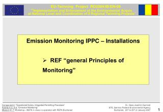 "Emission Monitoring IPPC – Installations REF ""general Principles of Monitoring"""