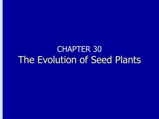 CHAPTER 30 The Evolution of Seed Plants