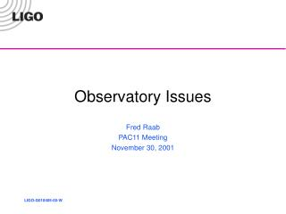 Observatory Issues