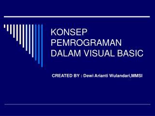 KONSEP PEMROGRAMAN DALAM VISUAL BASIC