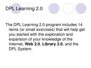 DPL Learning 2.0