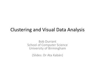 Clustering and Visual Data Analysis