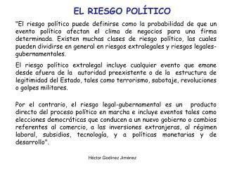 EL RIESGO POLÍTICO