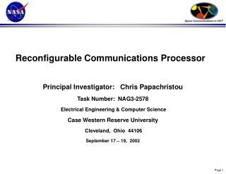 Reconfigurable Communications Processor