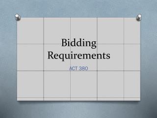 Bidding Requirements