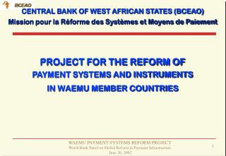 PROJECT FOR THE REFORM OF