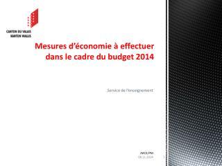 Mesures d'économie  à effectuer dans le cadre du budget 2014