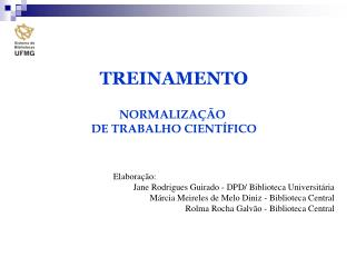 TREINAMENTO NORMALIZAÇÃO  DE TRABALHO CIENTÍFICO