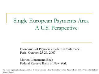 Single European Payments Area A U.S. Perspective