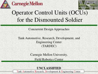 Operator Control Units OCUs for the Dismounted Soldier