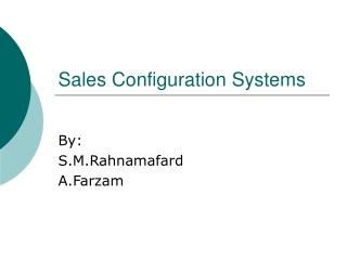 Sales Configuration Systems
