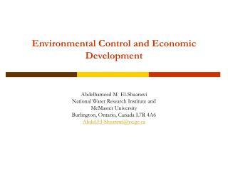 Environmental Control and Economic Development