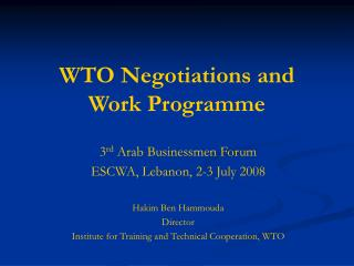 WTO Negotiations and Work Programme