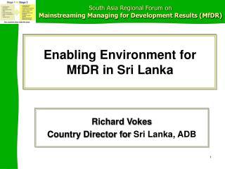 Enabling Environment for MfDR in Sri Lanka