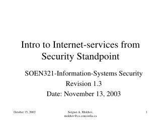Intro to Internet-services from Security Standpoint