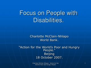 Focus on People with Disabilities.