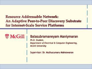Balasubramaneyam Maniymaran Ph.D. Student, Department of Electrical & Computer Engineering,
