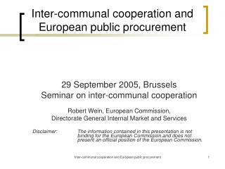 Inter-communal cooperation and European public procurement