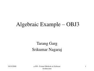 Algebraic Example   OBJ3