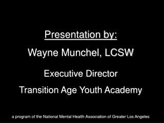 Presentation by: Wayne Munchel, LCSW Executive Director Transition Age Youth Academy