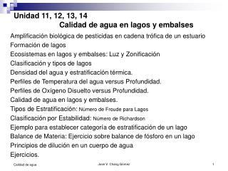 Unidad 11, 12, 13, 14  Calidad de agua en lagos y embalses