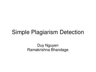 Simple Plagiarism Detection