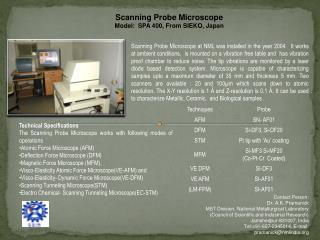 Scanning Probe Microscope Model:  SPA 400, From SIEKO, Japan
