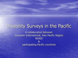 Disability Surveys in the Pacific