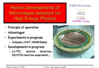 Recent developments of Micromegas detectors for High Energy Physics