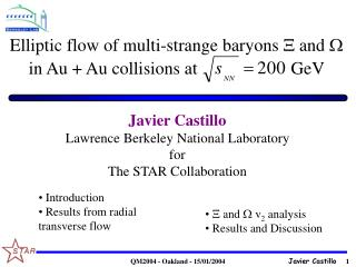 Elliptic flow of multi-strange baryons  and  in Au + Au collisions at                     GeV