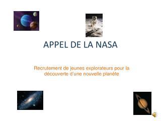 APPEL DE LA NASA