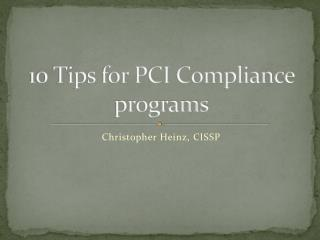 10 Tips for PCI Compliance programs
