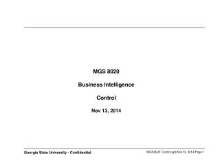 MGS 8020 Business Intelligence Control Nov 13, 2014