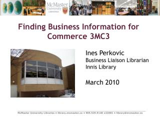 Finding Business Information for Commerce 3MC3