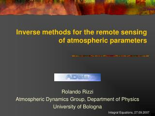 Inverse methods for the remote sensing of atmospheric parameters
