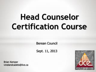Head Counselor  Certification Course