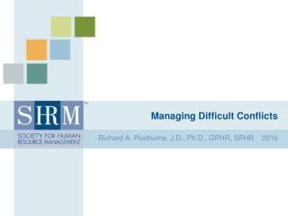 Managing Difficult Conflicts