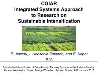 CGIAR  Integrated Systems Approach  to Research on  Sustainable Intensification