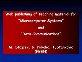 W eb  publishing of teaching material for  ''Microcomputer Systems''  and