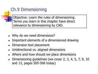 Ch.9 Dimensioning