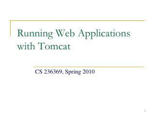 Running Web Applications with Tomcat