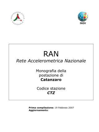 RAN Rete Accelerometrica Nazionale Monografia della postazione di Catanzaro Codice stazione CTZ