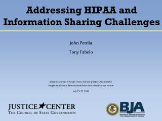 Addressing HIPAA and Information Sharing Challenges
