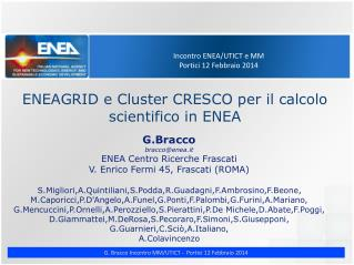 Incontro ENEA/UTICT e MM Portici 12 Febbraio 2014
