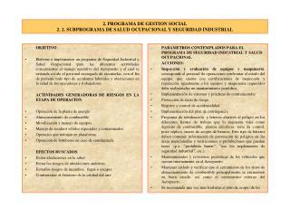 2. PROGRAMA DE GESTION SOCIAL 2. 2. SUBPROGRAMA DE SALUD OCUPACIONAL Y SEGURIDAD INDUSTRIAL