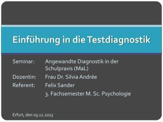 Einführung in die Testdiagnostik