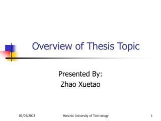 Overview of Thesis Topic