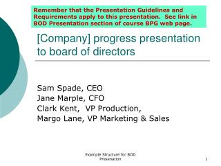 [Company] progress presentation to board of directors