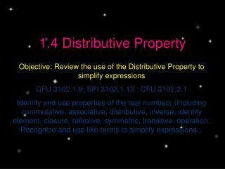 1.4 Distributive Property